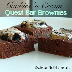 cookies n cream quest bar brownies no drizzle