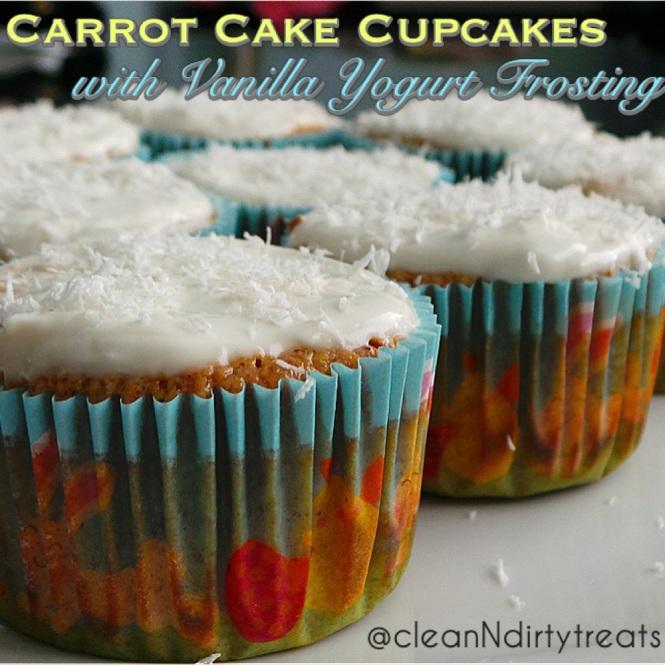 Carrot Cake Cupcakes with Vanilla Yogurt Frosting