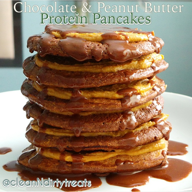 Chocolate and Peanut Butter Protein Pancakes