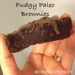 fudgy paleo brownies topped with chocolate brownie coconut butter