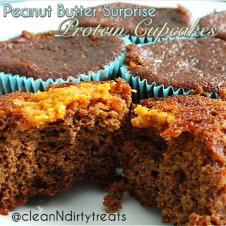 Peanut Butter Surprise Chocolate Protein Cupcakes