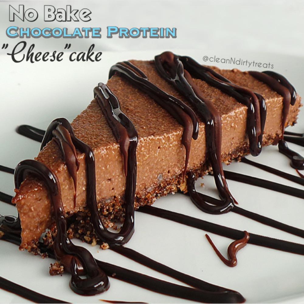 No Bake Chocolate Protein Cheesecake