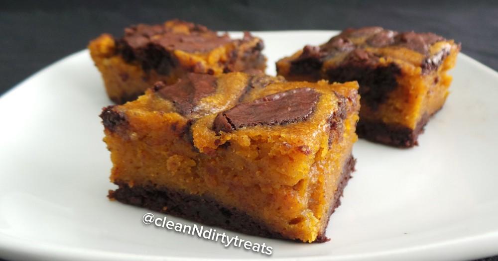 Healthified Pumpkin Swirl Brownies