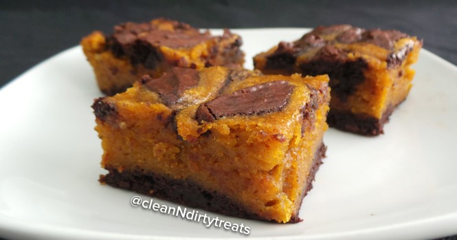 Healthified Pumpkin Swirl Brownies