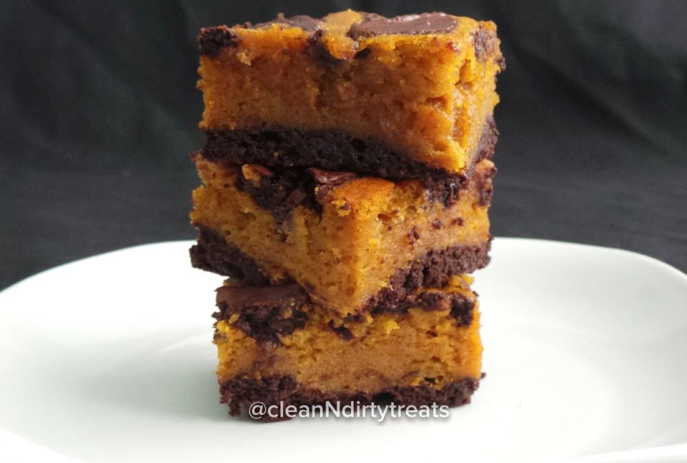 Healthified Pumpkin Swirl Protein Brownies